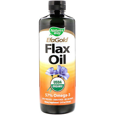 Nature s Way EFAGold Organic Flax Oil 24 fl oz 710 ml Sugar-Free, No Artificial