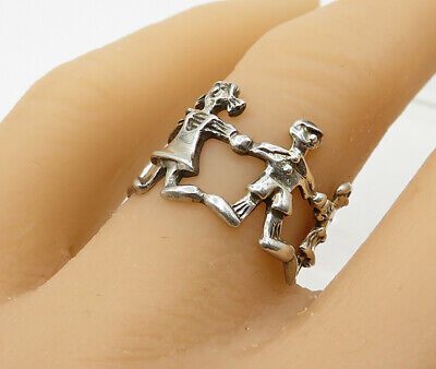 925 Sterling Silver - Vintage Children Playing Band Ring -R3101