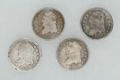 1833, 1835, 1836, 1837 Capped Bust Half Dimes H10C Average Circ 4 Coin Lot (6038