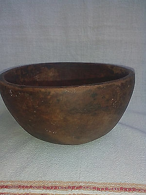 Antique Primitive Old Rare 1800s.Farm Hand Carved Wooden Mortar Bowl Cup