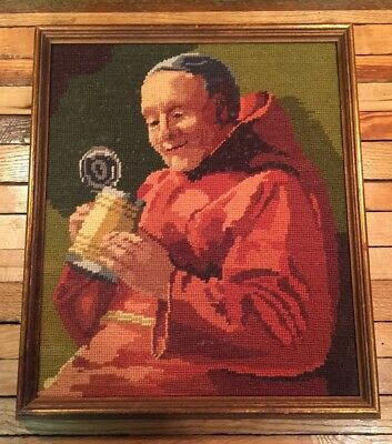 Antique Custom Framed Colorful Needlework Art -Drinking Monk With Stein Picture