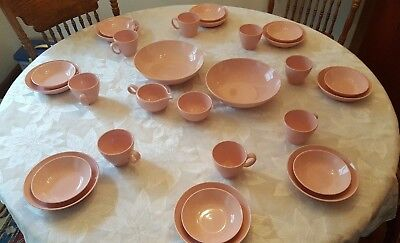 Vintage Mid Century Retro Pink Speckle Dishes - Pebbleford Taylor Smith - 28 pcs