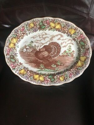 VINTAGE TURKEY PLATTER, ENGLISH BARKER BROS TRANSFERWARE, Large 16x20
