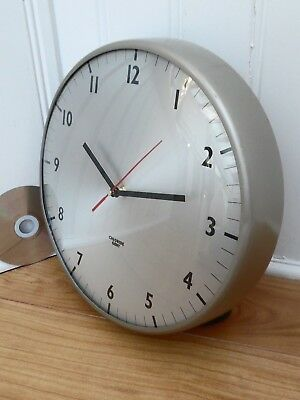 80s LARGE GENT WALL CLOCK, Vintage INDUSTRIAL SILVER GREY, Retro BRITISH FACTORY
