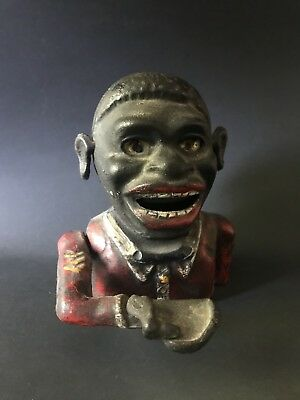Vintage Cast Iron Mechanical Coin Bank Antique Black Americana Jolly Boy Works