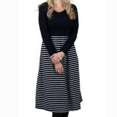 Autumn Dress Winter Pregnant Maternity Breastfeeding Striped Long Sleeve Casual