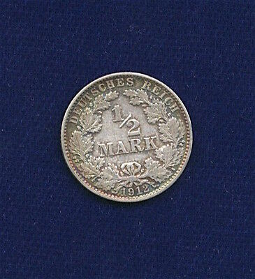 Germany Empire  1912-J  1/2 Mark Silver Coin, About Xf, With Luster And Color