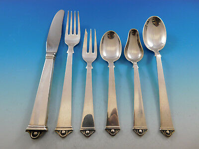 Vendome by Peter Hertz Danish Sterling Silver Flatware Set for 12 Service 73 Pcs