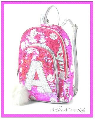 "NWT JUSTICE Girls Pink Flip Sequin ""MINI"" Backpack Choose Letter  B K L M S 💕"