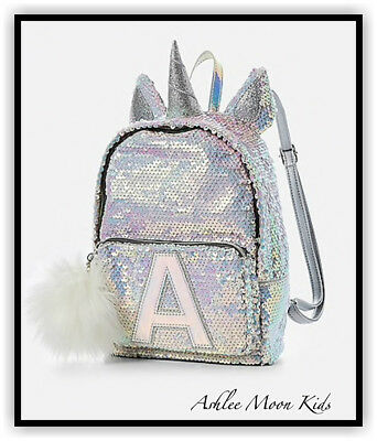 NWT JUSTICE Girls Silver Unicorn Flip Sequin MINI Backpack Choose Letter 🦄🦄🦄