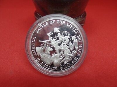 Battle of Little Bighorn 1876 History of America 2001 Liberia $20 Silver Coin