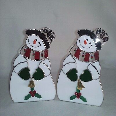 Set Of 2 Enameled Snowmen Tealight Candle Holders