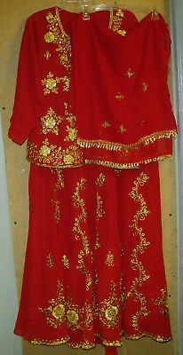 3pc. Red Gold Embroidered Indian Made Skirt Set 42 Large XL Kurta Lace Up Back