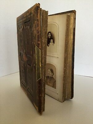 Antique 1874 Leather Photo Album With 125 Photographs Portraits Vintage Photos