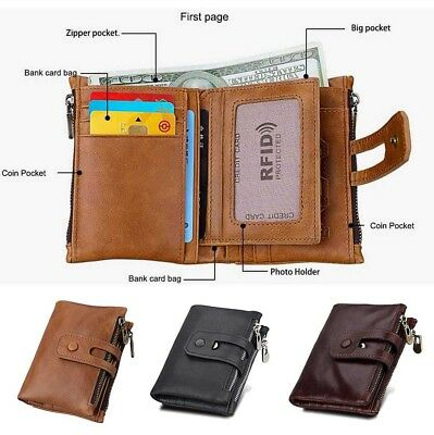 Men's Genuine Cowhide Premium Soft Leathe Zip Coin Wallet notes Card Purse RFID