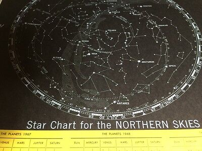 1967 Map Star Chart Of The Northern Skies And Stars In Order Of Brightness