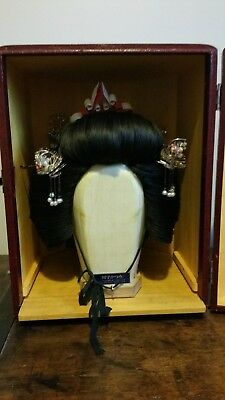 Japanese Bridal Katsura and Kanzashi With Stand And Case.