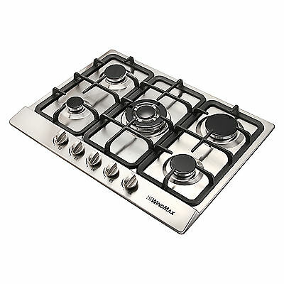 Stainless Steel COOKTOPS Silver 680mm Built-In 5 Burner Gas Cooktop Gas/LPG Hob