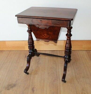 Antique Victorian work table with inlay circa 1880