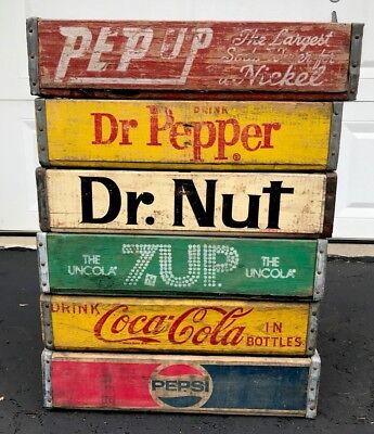 6 Vintage Wood Soda Pop Crates Coke Pepsi Dr Nut 7up Pep Up Dr Pepper Lot