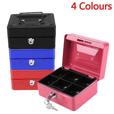 "6"" inch Small Key Lock Petty Cash / Piggy Bank Money Box Pot Safe Lockable Safe"