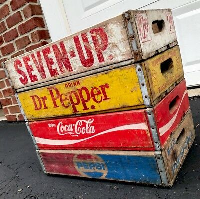 4 Vintage Wood Soda Pop Crates Coke Pepsi Dr Pepper 7up Lot