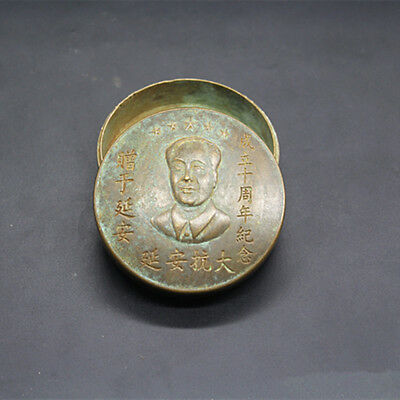 Bronze Antique collect antique chairman MAO ink cartridges exquisite snuff box