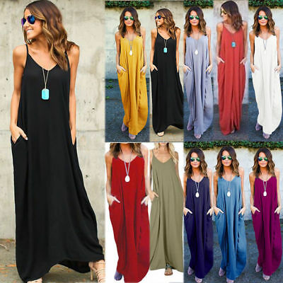 Women Loose Baggy Maxi Dress Ladies Summer Holiday Beach Sleeveless Long Dresses