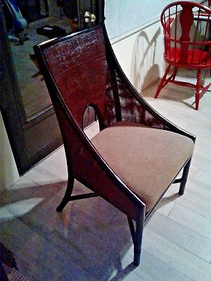 Exquisite Signed Rattan and Cane Dining Chair by McGuire San Francisco