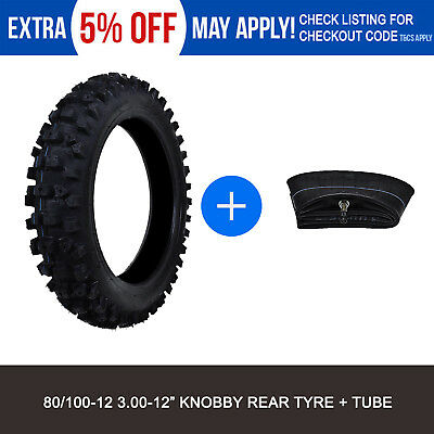 """80/100-12"""" Knobby Tyre + Tube for Front or Rear Atomik Thumpstar Pit/Dirt Bike"""