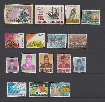 Indonesia - 16 used stamps - ( Lot 182 )
