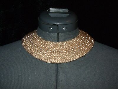 Vintage Glentex Faux Pearl Collar Necklace - 50's - Champagne Colored Pearls