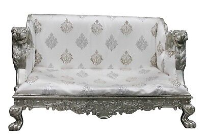 Vintage Sofa Wooden Metal Coated Furniture Embossed Hand Work Collectible US429M