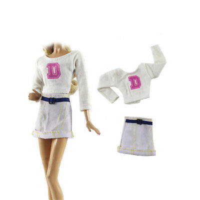 2X/Set Handmade Doll White Skirt Suit for Barbie 1/6 Doll Party Daily Clothes FU