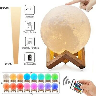 3D Printing Moon Lamp USB LED Night Lunar Light Moonlight Touch Color Changing ~