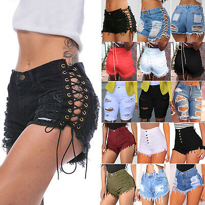 AU Womens Vintage Summer Ripped Denim Shorts Jeans Casual High Waisted Hotpants