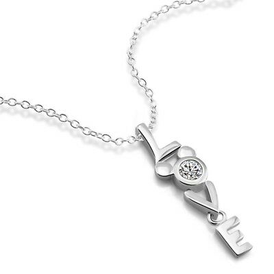 """Solid 925 Sterling Silver Script Love CZ Pendant Chain Necklace 18"""" Girl's Gift"""
