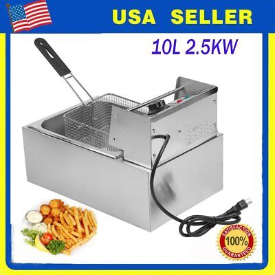 10L Commercial Electric Deep Fryer French Fry Bar Restaurant Tank With Basket J