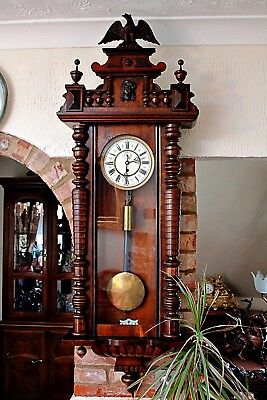 Antique German R.U.F. Urania Single Weight Vienna Regulator Wall Clock