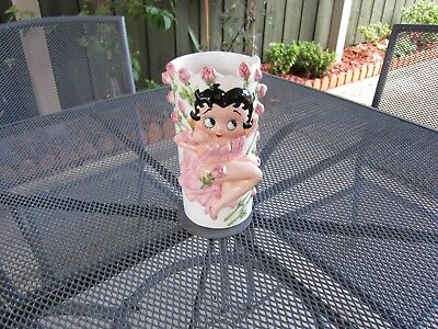 "Betty Boop ""Bed of Roses"" Vase Figurine Statue Rare 1990"