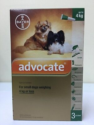 Advocate For Small Dogs Weighing 4Kg or Less 1 Box 3 pipettes x 0.4ml + Tracking