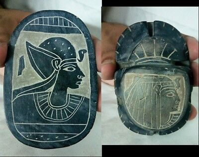 ANCIENT EGYPTIAN ANTIQUE SCARAB Ramses and Cleopatra Antique Scarab 920-700 BC
