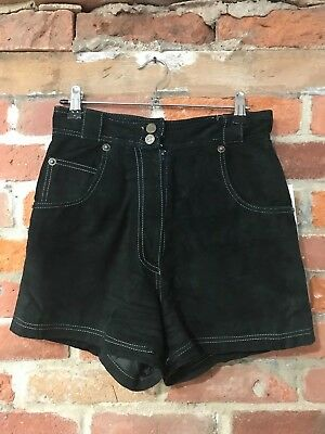 """VINTAGE SHORTS SIZE 8-10 HIGH WAISTED BLACK 100% LEATHER SUEDE LINED w27"""" (st34)"""