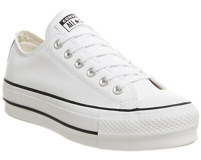 e700aa23798d Womens Converse All Star Lift Low Leather Trainers White Black White  Trainers Sh