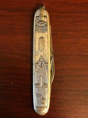 Vintage Silver Pocket Knife with Freemason Symbology