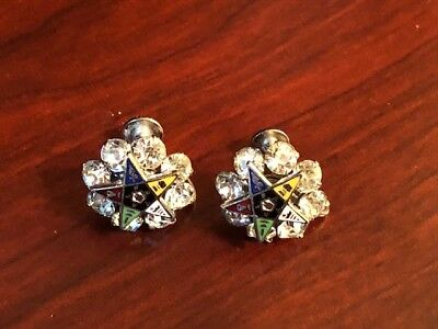 Vintage Screw-on Earrings Masonic Enamel Eastern Star w/Clear Rhinestones 5/8""