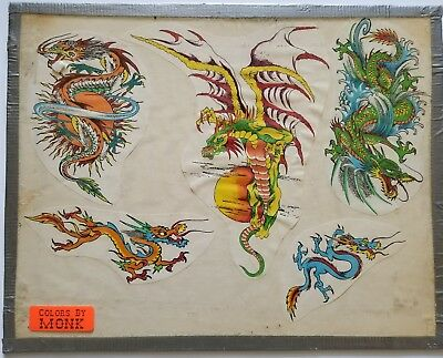 vintage unk 80s production freaky skulls badass dragon dragons flash colors:monk