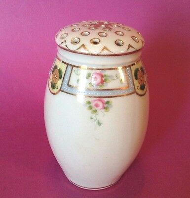 Nippon Noritake - Sugar Shaker - Blue Trim With Roses And A Gilded Star - Japan