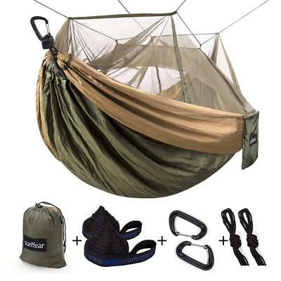 Single  Double Camping Hammock With Mosquito/Bug Net, 10ft Hammock Tree Straps