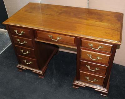 Quality Edwardian Walnut Pedestal Desk with Brass Handles